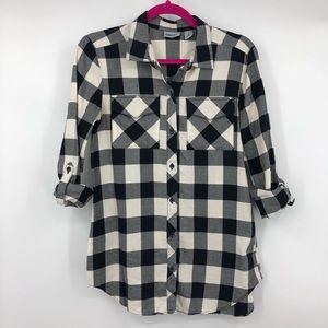 DKNY Button Up Black White Plaid Flannel Blouse XS